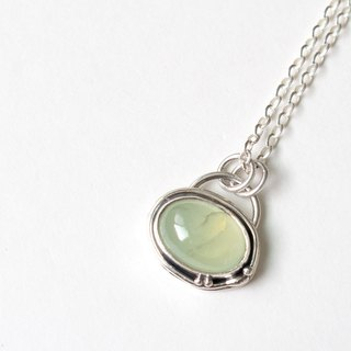 Grape Stone Sterling Silver Braid Prehnite Silver Pendant