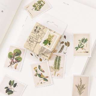 Plant map vintage stamp type handwritten sticker boxed 45 sheets
