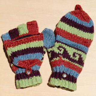 Valentine's Day gift creative gift limited a hand-woven pure wool knitted gloves / removable gloves / bristles gloves / made gloves (made in nepal) - bright South American forest national totem