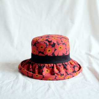 Japanese-style curling fisherman hat / not green leaves are safflower