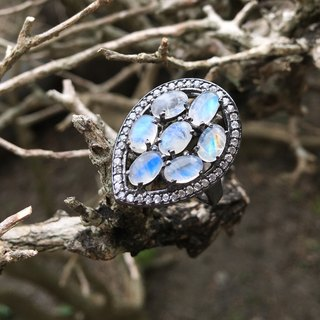 ♦ My.Crystal ♦ ♦ Blue Moonlight Basin mysterious silver ring # 14.5