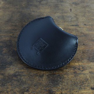 Italian Association certified vegetable tanned leather black hand-stitched round moon purse / earphone bag / small storage bag