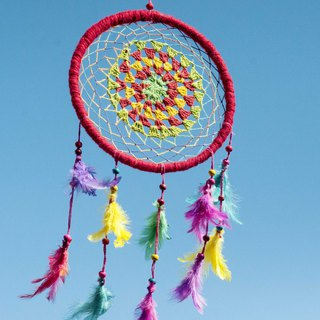 Christmas gift ethnic wind woven cotton and linen rainbow color dream catcher dreams Cather-red
