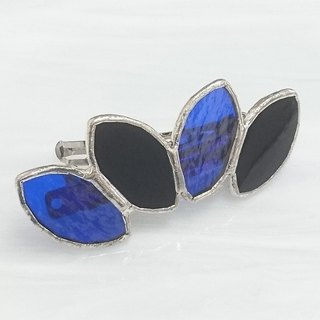Stained glass made Valletta 【Leaf】 Black and Blue