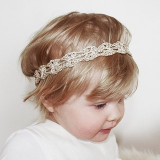 Gld Baby Headband, Pale Gold Crochet Toddler Headband