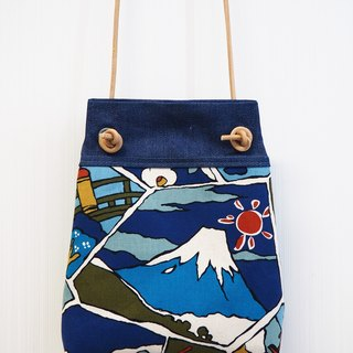 Printed cloth small side bag backpack blue