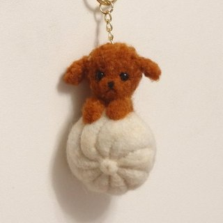 Poodle and bun - Wool felt  (key ring or Decoration)