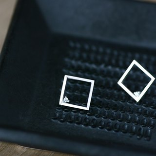 Square pierced 925 Sterling Silver