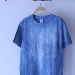 Free to stain isvara handmade blue dye pure series of time traces of cotton T-shirt