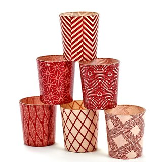 【Belgian SERAX】 Feeling geometric pattern glass candle cup (random shipping)