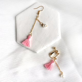 Handmade Tassel Earrings Earclips Rose Gold Series-pink limited