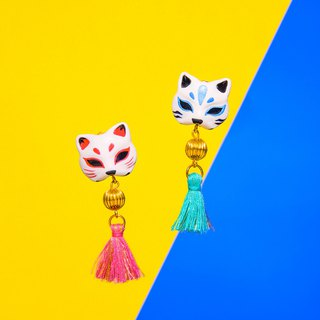 Japanese shrine wind earrings - cat's mysterious cat mask single