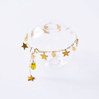 Gypsophila glazed glaze drops pure brass star bracelet 14K cute pentagram does not fade