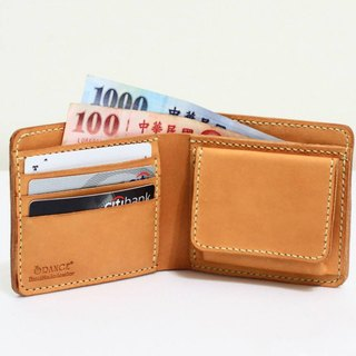 Small orange tanned leather short clip / wallet / coin purse