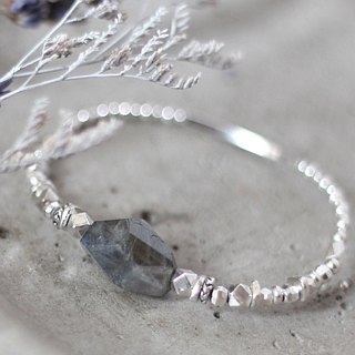 Polar star quenching. Natural ore sterling silver bracelet bracelet geometry labradorite faint cold light lovers stone