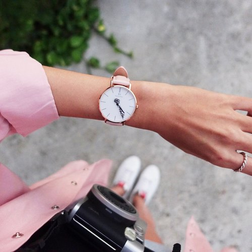 Custom pointer watch -36mm Classic Pink powder leather watch