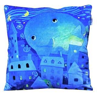 "afu illustration heart-warming pillow ""Starry Night mere"""