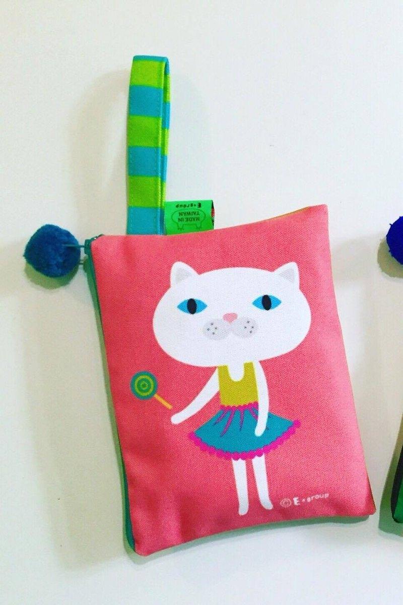 E*group 手提方塊包(白喵 草莓焦糖) 雙面設計  收納包 萬用包 手提包 化妝包 送禮 禮物