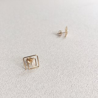 maze / gold filled square earrings