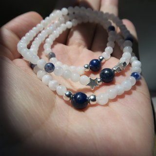 [Spirituality] Small hand material High strength energy • Angel treatment: Moonlight stone / lapis lazuli / blue stone / 925 sterling silver beads / • Three laps bracelet + necklace (one-way style) Neutral style - Men and women can - Valentine's Day gi
