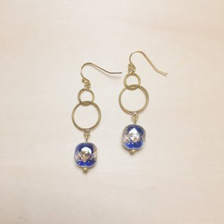 Vintage Dark Blue Round Side Square Gold and Silver Foil Glass Earrings