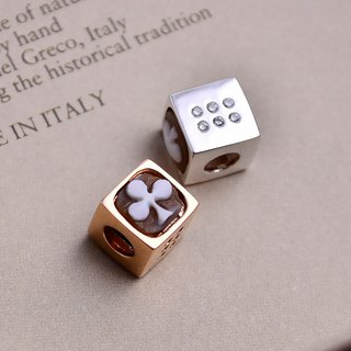 Italian handmade shell carving light jewelry - beaded poker dice (silver / rose gold) - CH803