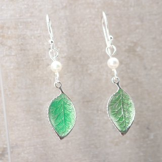 Green Leaves Silver 925 & Fresh Water Pearl Earrings