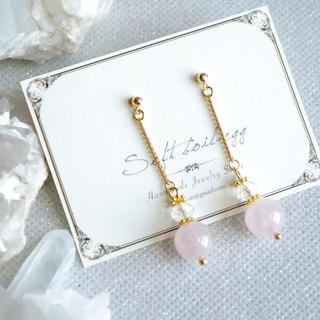 Madagascar Rose Quartz 18k Long earrings