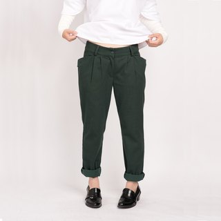 Green striped pocket design classic low-waist pants