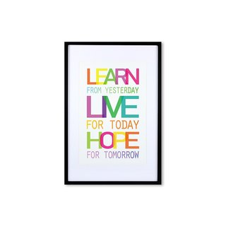 HomePlus Decorative Frame - Quote Series LearnLiveHope - Black 63x43cm Homedecor