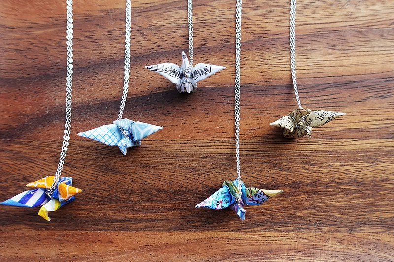 Music Sheet Origami Crane Necklace