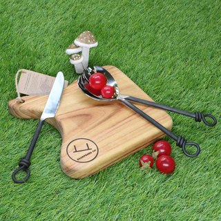 Picnic camping kit manual camphor wood chopping block group Australia spoon + fork