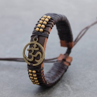 Leather Beaded Bracelets Men Unisex Charm Brass Ohm Yoga Bracelets