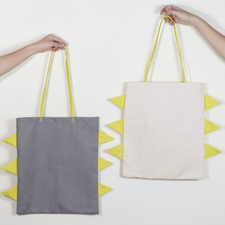 Tote bag semicircle patchwork style white and grey colour