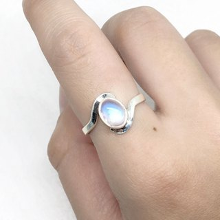 Moonlight stone 925 sterling silver curve design ring Nepal handmade mosaic production (fan feedback 1)