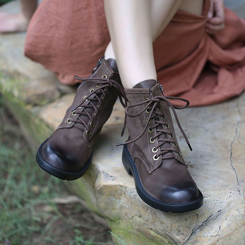 Autumn Martin boots thin first layer cowhide thick-soled Japanese ankle boots