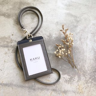 KAKU leather design identification card holder folder custom-made custom gray dark blue bottom