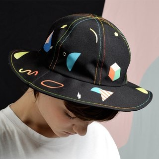 YIZISTORE Canvas printing fisherman hat female dome visor can be folded along the basin cap travel beach hat