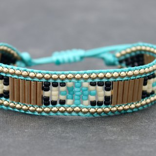 Seed Beads Friendship Bracelets, Brass Beaded Braided Blue Ethnic Pattern