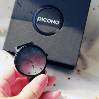 【PICONO】A week collection black leather strap watch / AW-7604