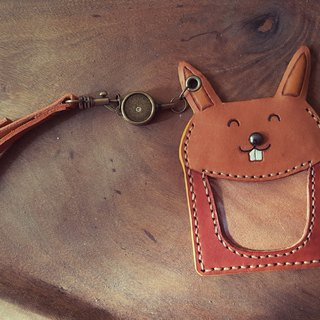 Cute Bunny pure leather telescopic identification card / You card clip - on the back can be lettering (birthday, lover gifts)
