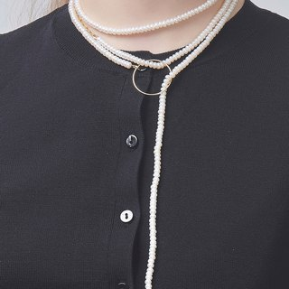 couture-Extra Long Pearl High layer Necklace