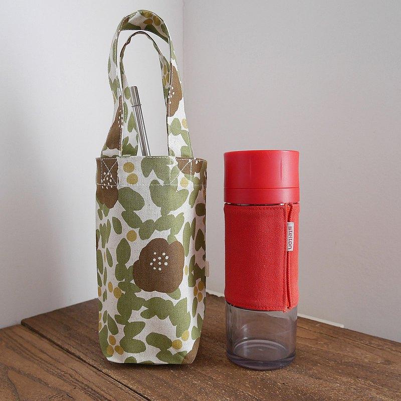 北歐風格綠葉與棕色小花棉麻飲料隨行杯提袋