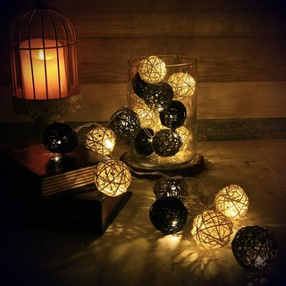 "HomePlus LED Atmosphere Rattan Ball Lights - Black+Grey ""Battery"" 2m long"