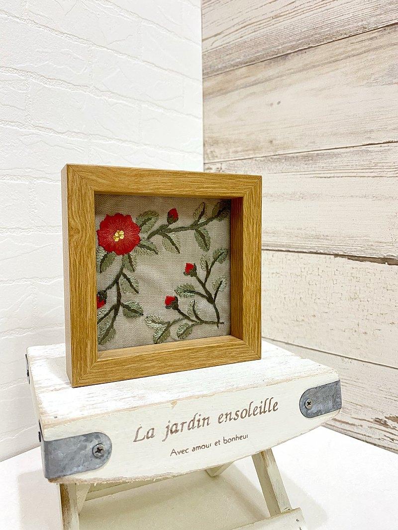 歲月靜好療癒刺繡擺飾相框/野玫瑰