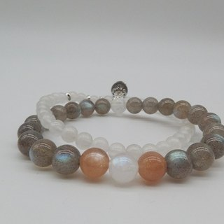 Under the Star Convention - Natural Labradorite + Orange Moonstone + Blue Moonstone Sterling Silver Double Bracelet Hong Kong original design