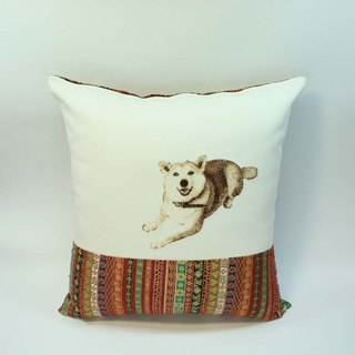 Large embroidery pillow cover 03- Shiba Inu