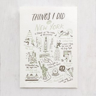 Things I Did in New York Letterpress Postcard