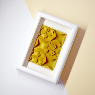 House Warming Gift Origami Golden 3D Diamond White Framed Art Decoration
