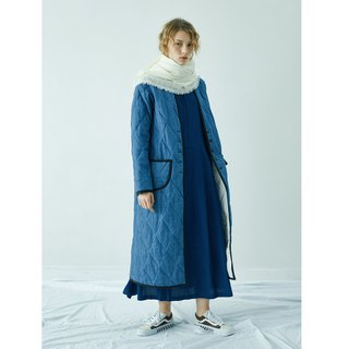 Denim quilted long coat